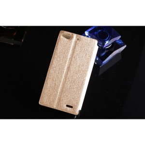 Чехол флип подставка со светоотражающей поверхностью на пластиковой основе для ZTE Nubia Z5S Mini Бежевый