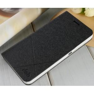 Текустурный чехол флип подставка на пластиковой основе для Huawei Honor 4X Черный