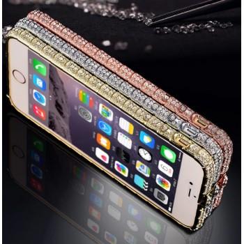 Металлический бампер с инкрустацией стразами ручной работы для Iphone 6
