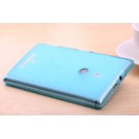 Силиконовый полупрозрачный чехол для Nokia Lumia 1320 Голубой