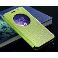 Текстурный водоотталкивающий чехол флип подставка на силиконовой основе с окном вызова и магнитной застежкой для Asus Zenfone 2 Зеленый