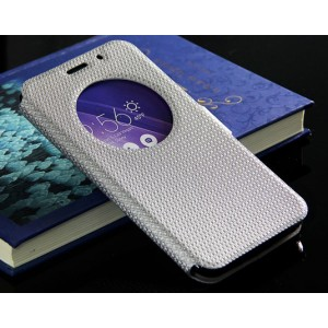 Текстурный водоотталкивающий чехол флип подставка с окном вызова и магнитной застежкой для Asus Zenfone 2