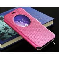 Текстурный водоотталкивающий чехол флип подставка на силиконовой основе с окном вызова и магнитной застежкой для Asus Zenfone 2 Пурпурный