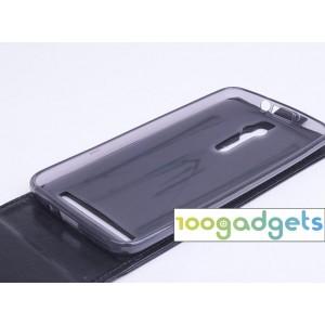 Чехол вертикальная книжка на силиконовой основе с магнитной застежкой для Asus Zenfone 2 Черный