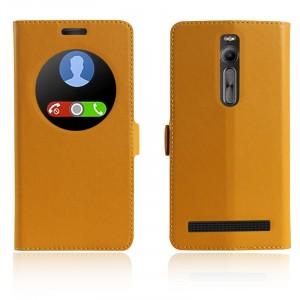 Кожаный чехол флип подставка на пластиковой основе с окном вызова и магнитной застежкой для Asus Zenfone 2 Желтый