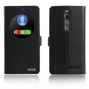 Кожаный чехол флип подставка на пластиковой основе с окном вызова и магнитной застежкой для Asus Zenfone 2 Синий
