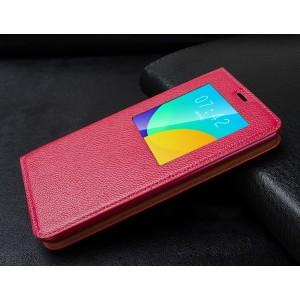 Кожаный прошитый чехол смарт флип с окном вызова серия Colors для Meizu MX4 Pro