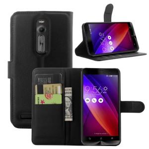 Чехол портмоне подставка с магнитной застежкой и отсеком для карт для Asus Zenfone 2