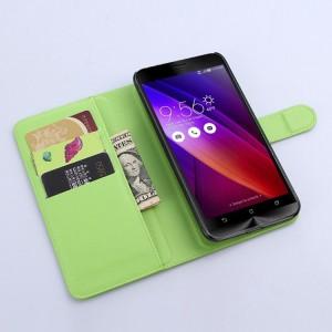 Чехол портмоне подставка с магнитной застежкой и отсеком для карт для Asus Zenfone 2 Зеленый