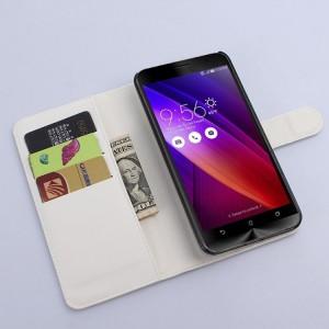 Чехол портмоне подставка с магнитной застежкой и отсеком для карт для Asus Zenfone 2 Белый