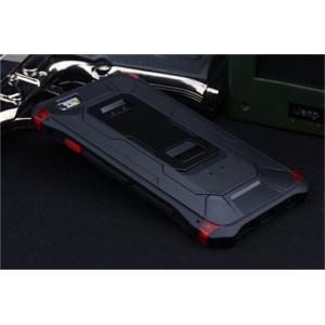 Антиударный гибридный металлический двухкомпонентный премиум чехол с поликарбонатной крышкой и ножкой-подставкой для Iphone 6 Plus Черный