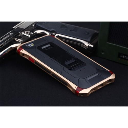 Антиударный гибридный металлический двухкомпонентный премиум чехол с поликарбонатной крышкой и ножкой-подставкой для Iphone 6 Plus