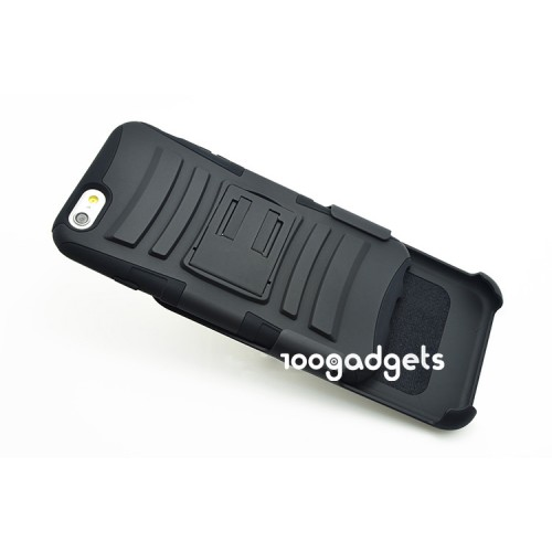 Гибридный антиударный силиконовый чехол с поликарбонатной крышкой и ножкой-подставкой для Iphone 6