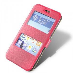 Текстурный чехол флип подставка с окном вызова и свайпом для Asus Zenfone 2 5 Пурпурный
