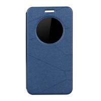 Текстурный чехол флип подставка на силиконовой основе с окном вызова и магнитной застежкой серия Pieces для Asus Zenfone 2 5 Синий