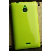Силиконовый глянцевый непрозрачный чехол для Nokia X2 Зеленый
