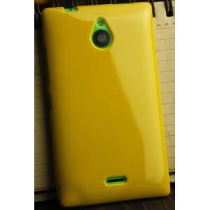 Силиконовый глянцевый непрозрачный чехол для Nokia X2 Желтый