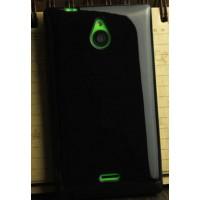 Силиконовый глянцевый непрозрачный чехол для Nokia X2 Черный