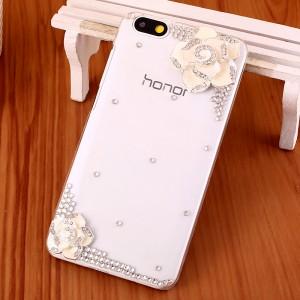 Пластиковый транспарентный чехол с аппликациями стразами и бижутерией ручной работы для Huawei Honor 4X