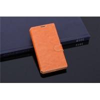 Чехол портмоне подставка с прошивкой и магнитной защелкой на пластиковой основе для ZTE Blade G Lux Коричневый