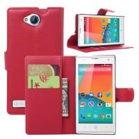 Чехол портмоне подставка с защелкой на пластиковой основе для ZTE Blade G Lux Красный