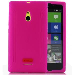 Силиконовый матовый чехол с нескользящими гранями для Nokia XL Пурпурный
