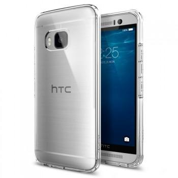 Гибридный противоударный силиконовый премиум чехол с нескользящими гранями и транспарентной поликарбонатной накладкой для HTC One M9