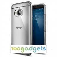 Гибридный противоударный силиконовый премиум чехол с нескользящими гранями и транспарентной поликарбонатной накладкой для HTC One M9 Серый
