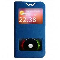 Текстурный чехол флип подставка с окном вызова и свайпом для Microsoft Lumia 430 Dual SIM Синий