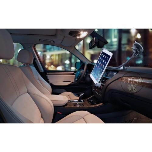 Эксклюзивный двухплоскостной автомобильный держатель с дополнительной опорой на вакуумной присоске и гибком штативе для планшетов 7-11 дюймов