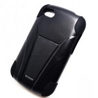 Антиударный силиконовый чехол с поликарбонатной крышкой и ножкой-подставкой для BlackBerry Q10 Черный