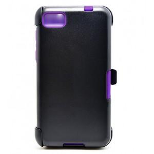 Трехкомпонентный ударостойкий силиконовый чехол с поликарбонатной крышкой и независимым защитным модулем для экрана на клипсе под ремень для BlackBerry Z10