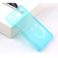 Пластиковый матовый полупрозрачный дизайнерский чехол Smile для Samsung Galaxy Core 2 Голубой