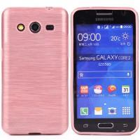 Силиконовый непрозрачный чехол текстура Металл для Samsung Galaxy Core 2 Розовый
