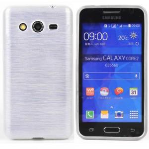 Силиконовый непрозрачный чехол текстура Металл для Samsung Galaxy Core 2