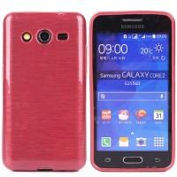 Силиконовый непрозрачный чехол текстура Металл для Samsung Galaxy Core 2 Красный