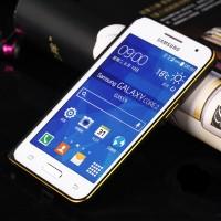 Металлический бампер с золотой окантовкой для Samsung Galaxy Core 2 Черный