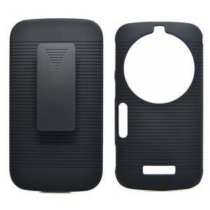 Антиударный поликарбонатный чехол с независимым защитным модулем для экрана на клипсе под ремень и ножкой-подставкой для Samsung Galaxy K Zoom