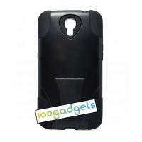 Силиконовый чехол с поликарбонатной крышкой и ножкой-подставкой для Samsung Galaxy Mega 6.3 Черный