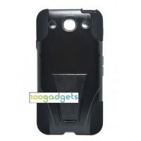 Гибридный противоударный силиконовый чехол с поликарбонатной крышкой и ножкой-подставкой для LG Optimus G Pro Черный