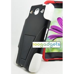 Гибридный противоударный силиконовый чехол с поликарбонатной крышкой и ножкой-подставкой для LG Optimus G Pro