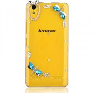 Пластиковый транспарентный чехол с аппликациями стразами и бижутерией ручной работы для Lenovo A6000/A6010