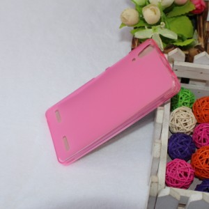 Силиконовый матовый полупрозрачный чехол для Lenovo A6000 Розовый