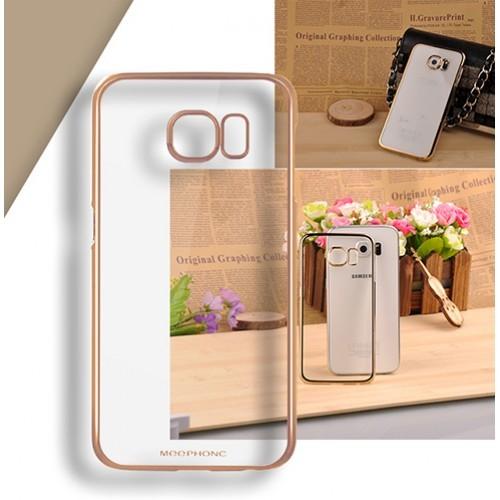 Пластиковый чехол с металлическим напылением бампера и транспарентной поверхностью для Samsung Galaxy S6