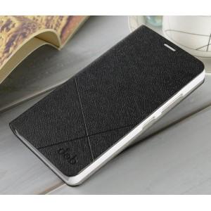 Текстурный чехол флип подставка на пластиковой основе для Lenovo A6000 Черный