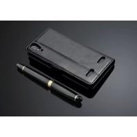 Чехол портмоне подставка с защелкой на пластиковой основе для Lenovo A6000 Черный