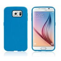 Силиконовый матовый чехол с фирменной точечной структурой для Samsung Galaxy S6 Edge Голубой