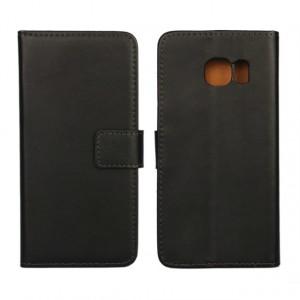 Чехол портмоне подставка с магнитной защелкой на пластиковой основе для Samsung Galaxy S6 Edge Черный