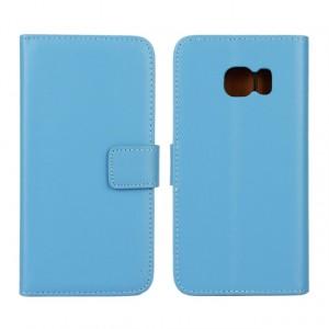 Чехол портмоне подставка с магнитной защелкой на пластиковой основе для Samsung Galaxy S6 Edge Голубой