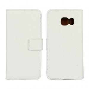 Чехол портмоне подставка с магнитной защелкой на пластиковой основе для Samsung Galaxy S6 Edge Белый